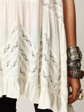 jewels,jewelry,bracelets,boho,cream dress,lace insert