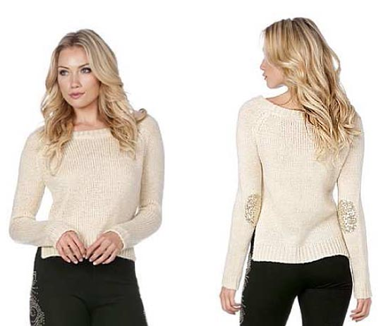 Miss me sequin elbow patch sweater
