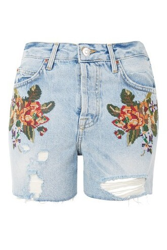 shorts denim cross floral