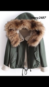 coat,fur parka jacket winter khaki,green,cute,girly,winter sweater,fur,jacket,army green jacket,winter outfits,white,dress,shoes,parka,winter jacket,green jacket,army green winter coat,winter coat,fur hood,wool,quilted parka coat,khaki,warm