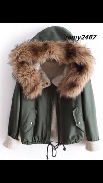 coat fur parka jacket winter khaki jacket winter jacket green jacket