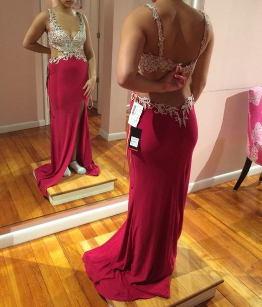 dress raspberry color long dress slit dress