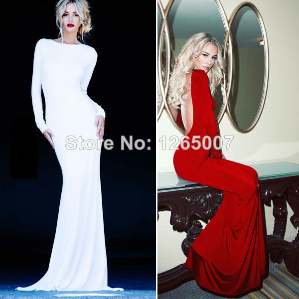 Aliexpress.com : Buy The Lurelly Monaco Dress Bateau Neckline Deep Low Cut Open Back Back Long Sleeves Silhouette Mermaid Evening Dresses from Reliable dress overall suppliers on SFBridal