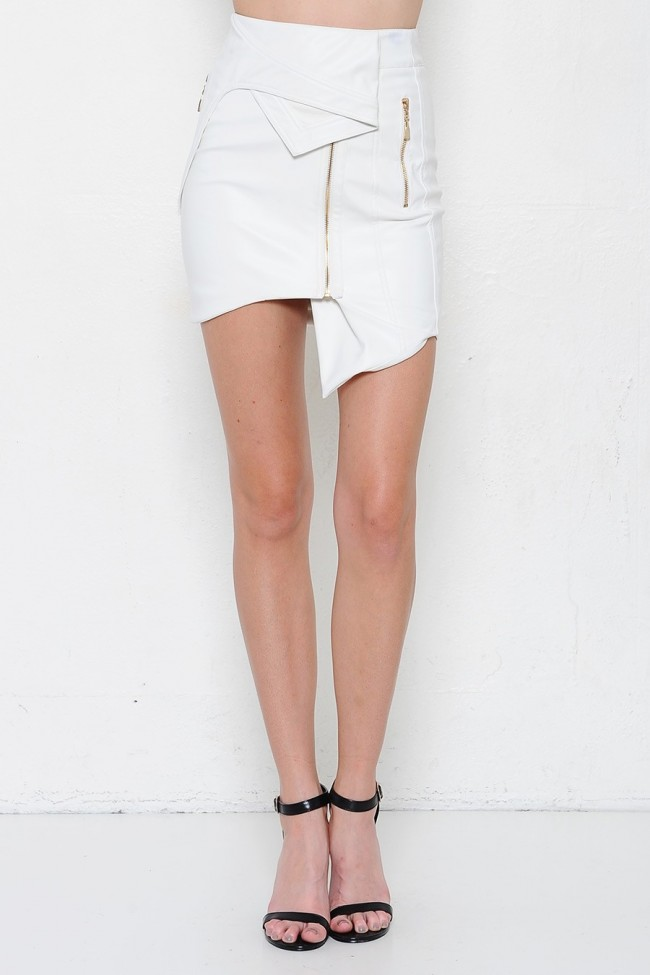 White Faux Leather Asymmetrical Pencil Skirt