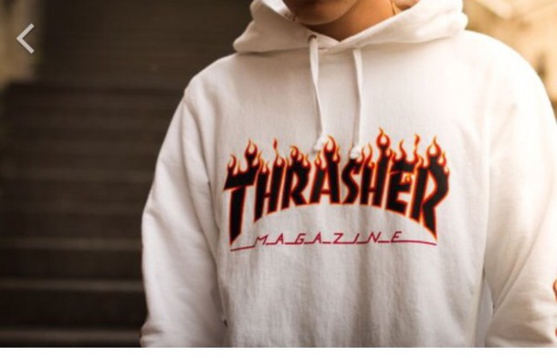 Sweater Thrasher Hoodie White Fire Magazine Dope