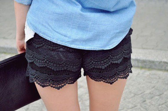 shorts black shorts black lace pretty spring denim shirt
