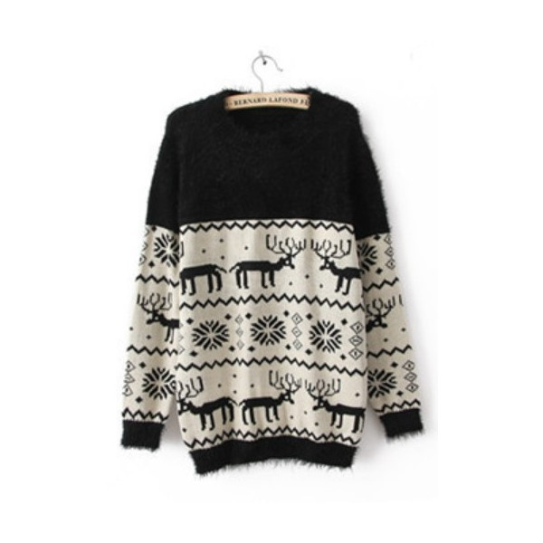 Black Long Sleeve Deer Snowflake Embroidery Sweater - Polyvore