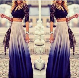 skirt ombre blue white gradient maxi skirt beautiful long skirt festival fashion freevibrationz