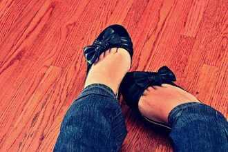 cute shoes black bows ballerina