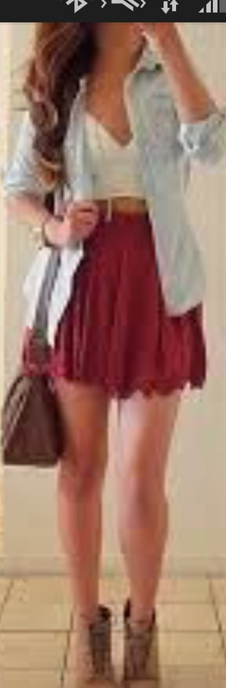 skirt red skirt white cardigan