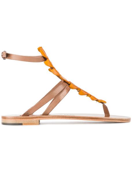 ÁLVARO women sandals leather yellow crocodile orange shoes