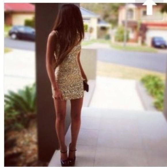dress glitter dress gold sequins sequin dress sparkle dress gold dress gold golden dress tight glitter sequents