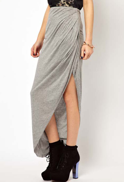 Grey Asymmetrical Split Pleated Skirt - Sheinside.com