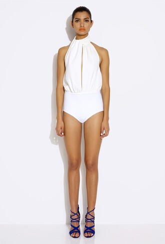 jumpsuit bodycon dress body bodysuit aq aq aqua by aqua aqua couture white spectrum