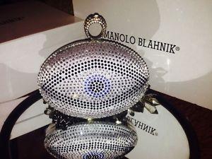 One Ring Evil Eye Crystal Sparkle Oval Clutch Box Handbag Purses Party Halloween