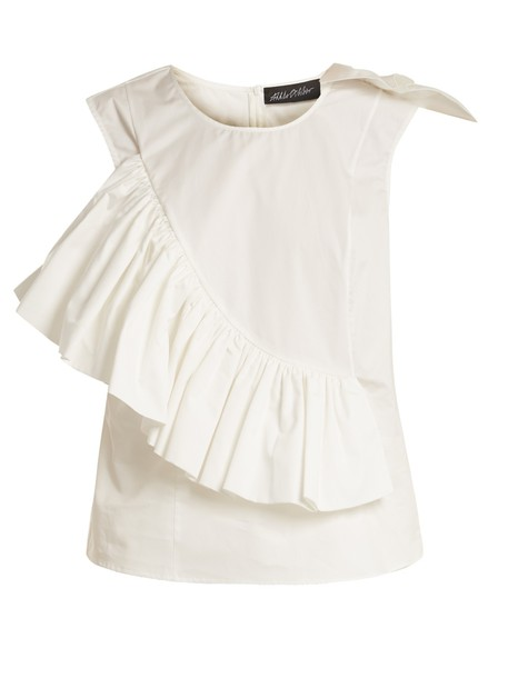 ANNA OCTOBER top sleeveless ruffle cotton white