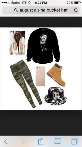 shirt august alsina leggings hat dress jeggings pants camouflage army green