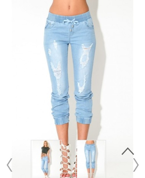 Jeans: denim, denim jean, ripped jeans, pants, white washed denim ...