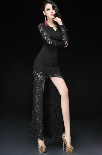 Wholesale european popular asymmetrical swallowtail lace sleeve long dress
