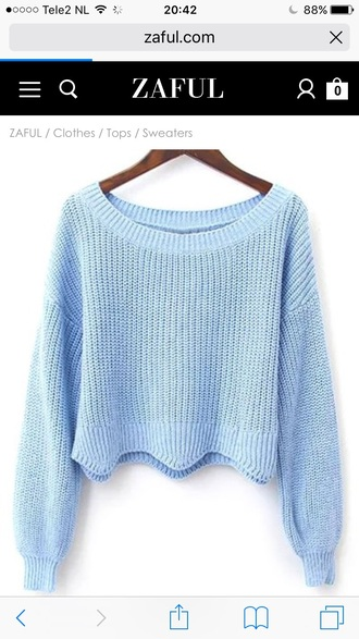 sweater light blue blue fashion style long sleeves trendy knitwear winter outfits winter sweater zaful
