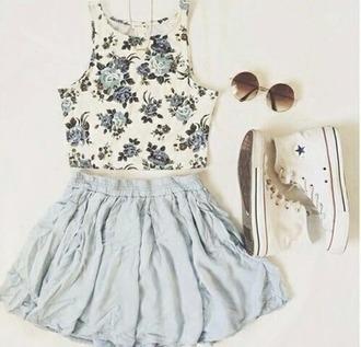 top pastel blue blue flower top crop tops white converse round sunglasses skirt