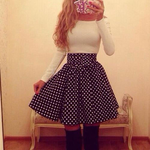 Sleeved white dots word shoulder dress lk1211ef