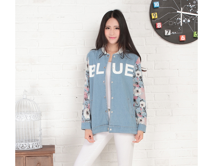 Korean Floral Sleeve Letter Printed Denim Jacket, Shop online for $21.50 Cheap Denim Jackets code 721943 - Eastclothes.com