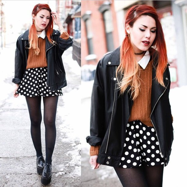 coat leather jacket shorts style sweater tights leggings