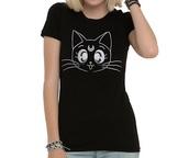 shirt,luna cat,sailor moon luna,black,hot topic,graphic tee,kawaii
