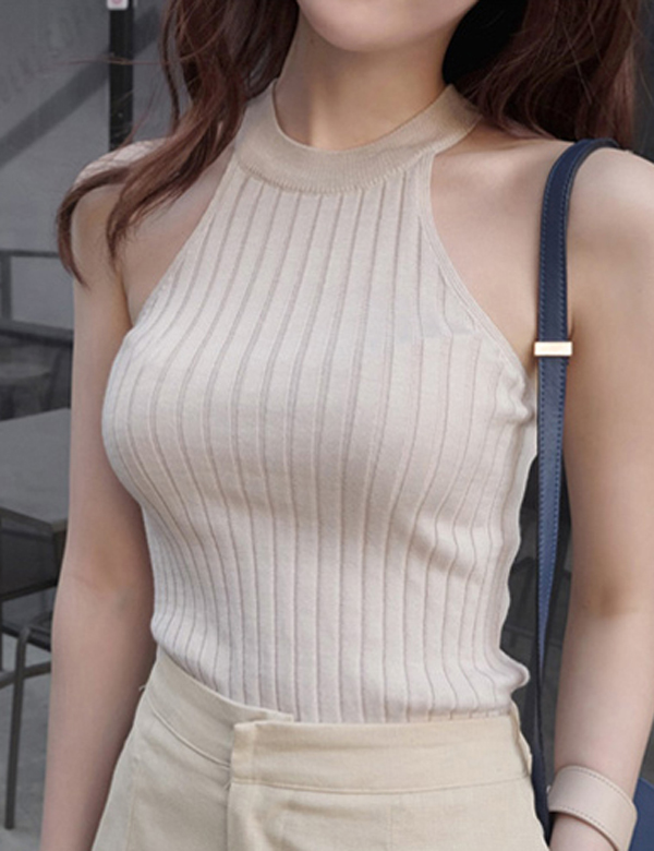 Women's Femme Knitted Halter Crop Top