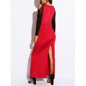 dress,cold shoulder,cut-out dress,long dress,red,back long slit,mesh sleeves,sexy,hot,keyhole bust,form fit,bodycon