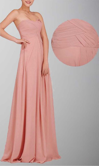 chiffon long bridesmaid dresses long formal dress strapless prom dress pastel pink