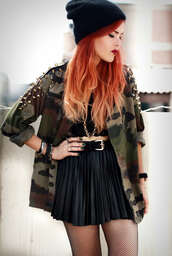 skirt,black,camouflage,jacket,army green jacket,camouflage military jacket,vintage camouflage jacket,studded,studs,studded jacket,camo jacket,beanie,black beanie,red hair,bracelets,crop tops,black top,mini skirt,black skirt,leather skirt,black leather skirt,coat