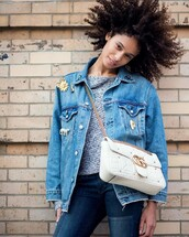 jacket,tumblr,white bag,denim jacket,denim,jeans,blue jeans,patchwork,embellished jacket,embellished,bag,chain bag,hair,hairstyles,curly hair