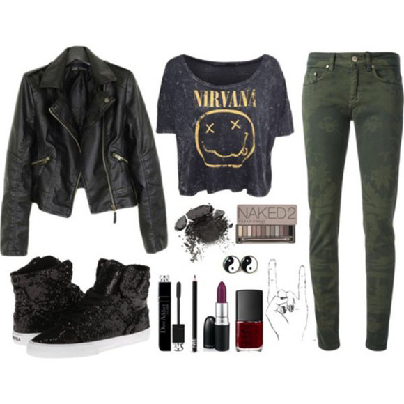 nirvana t-shirt rock punk nirvana t-shirt jeans jacket leather jacket make-up lipstick nail polish naked make up naked 2 mascara