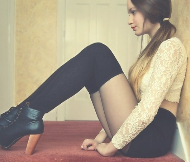 shoes blouse shorts knee high socks lace ankle boots underwear socks