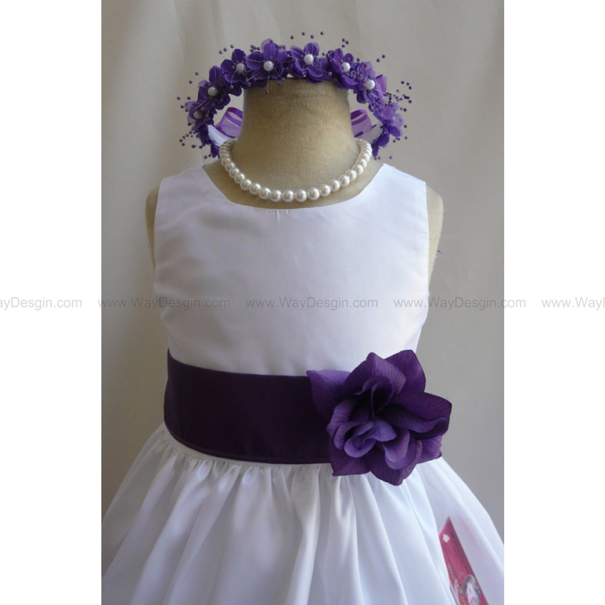 Flower Girl Dress WHITE w/ Purple JC Wedding Children Easter Bridesmaid Communion Purple Orange Lilac Pink Light Guava Green Lime Green Kell