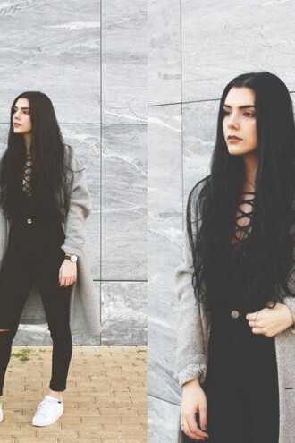 top black zaful lace up streetwear lookbook blogger witch winter outfits