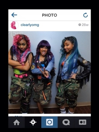 pants camo camouflage omg girlz zonnique pullins breaunna womack bahja rodriguez pink baddie dope trill puffy pink dress gold buttons