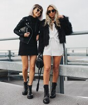 jacket,tumblr,black jacket,black leather jacket,leather jacket,black dress,dress,mini dress,boots,black boots,biker boots,romper,black fur jacket,fur jacket,faux fur jacket,sunglasses,bag,black bag