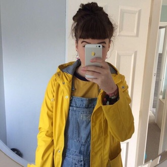 jacket yellow raincoat tommy hilfiger tommy hilfiger jacket grunge aesthetic jeans