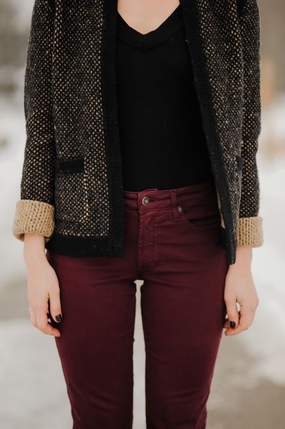 jacket beige burgundy charcoal jeans pants red jeans
