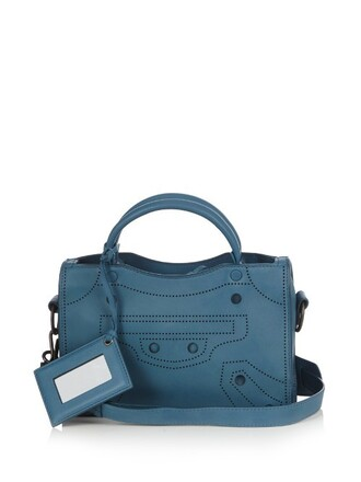 cross mini bag leather blue