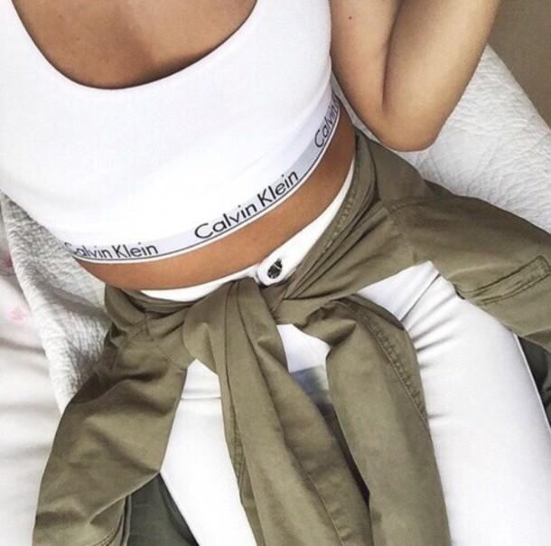 146fd4e17bceb shirt top white top calvin klein calvin klein underwear jeans jacket calvin  klein bra sports bra