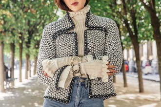 jacket tumblr chanel grey jacket top beige top ruffle ruffled top bracelets cuff bracelet jewelry accessories accessory fall jacket pearl french girl style ruffle sweater