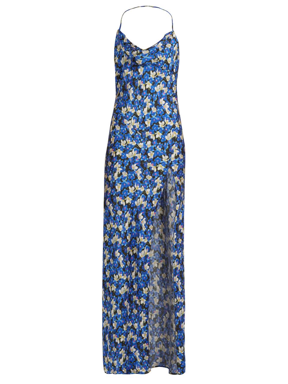 Attico Gabriela Embroidered Silk Satin Wrap Dress Mint