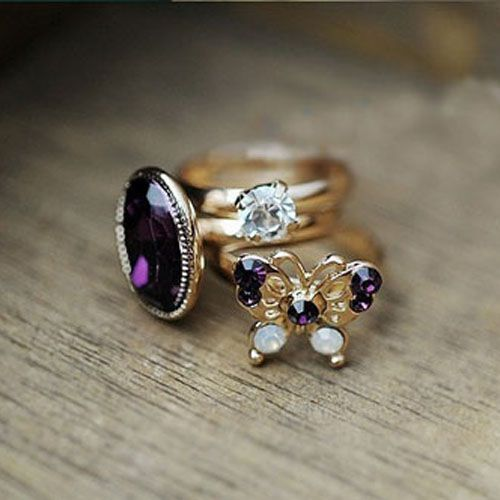 Retro personality mysterious gem three-piece Purple Butterfly Diamond Ring Ring - DualShine