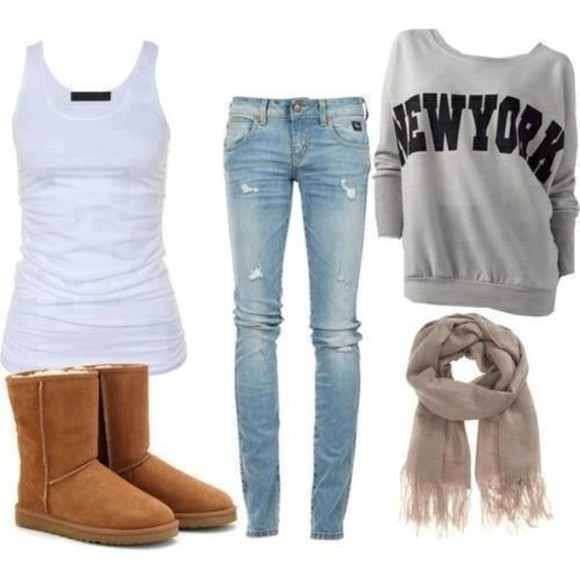 new york city blouse sweater skinny jeans new york city off the shoulder loose fit sweater scarf grey top ugg boots jeans tank top t-shirt clothes boots grey white brown boots scart pants girl's clothes blogger shirt fall outfits sweater fall sweater cute outfits crewneck shoes denim new york sweatshirt oversized sweater white tank top jumper newyork slogan grey top