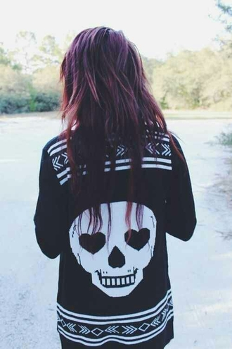 sweater edgy cute cute sweaters black skull heart black and white scene