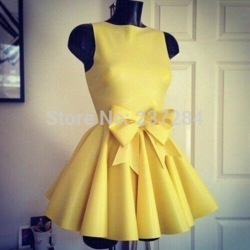 Online shop real cheap high neck yellow short homecoming dresses 2014 with bow ruched student party dress free shipping custom made